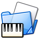 Folder, piano, midi Black icon