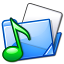 Folder, sound Black icon