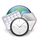 earth, world, Clock, Calendar, internet, Email Icon