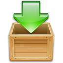 Arrow, green, wooden, download, download to box, load, Box, box arrow Peru icon