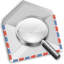 Airmail, Find, mail, envelope, search LightGray icon