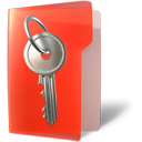 Key, secure, Folder OrangeRed icon