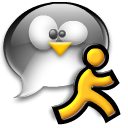 Man, tux, Running, Chat, Penguin Black icon