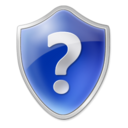 Blue, help, shield, question mark Black icon