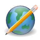 Edit, write, cms, earth, pencil, world, Browser Black icon