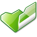 open, green, Folder Black icon