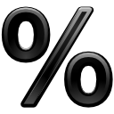 %, Kpercentage Black icon