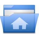 Home, Blue, Folder, open, house CornflowerBlue icon