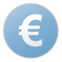 Currency, Blue, Euro SkyBlue icon