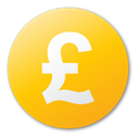 Currency, pound, yellow Gold icon