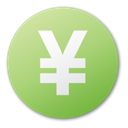 Currency, yuan, green Icon