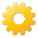 Gear, yellow Gold icon