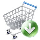 Down, shopping cart, webshop, ecommerce Gray icon