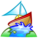 Boat, Browser, earth, world Black icon