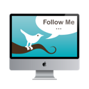 twitter, screen, Follow me, mac monitor Black icon