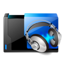 Headphone, shared, music, Headphones Black icon