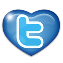 twitter, Heart, love Black icon
