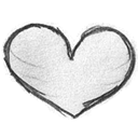 Heart, Favorites, love, handdrawn Black icon