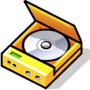 Cd, beos, player Black icon