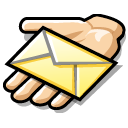 Email, Message, Hand, beos, share Black icon