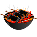 Apple, Iphone, bbq, barbeque, grill Black icon