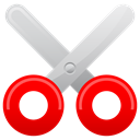 Cut, scissor Red icon