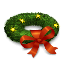 christmas, wreath Black icon