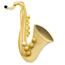 instrument, music, jazz, saxophone Black icon