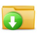 Folder, Arrow, download Black icon