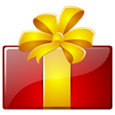 present, christmas, gift, birthday Gold icon