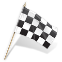 Goal, Checkered, flag Black icon