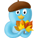 leaves, twitter, fall, bird Black icon