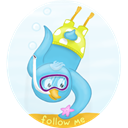 Diving, scuba, bird, twitter AliceBlue icon