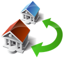 transfer, houses, swap, wire Black icon
