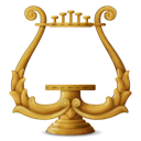 instrument, lyre, music Black icon