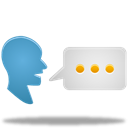 Translate, talk, speak, Chat Black icon