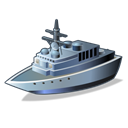 Destroyer, warship Black icon
