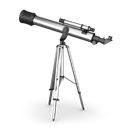 telescope, For looking at planets and stars Black icon