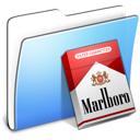 Aqua, marlboro, Folder, smooth Black icon