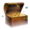 chest, treasure, jewel, Coins, gold Black icon