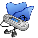 Folder, Blue, mymusic Black icon