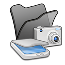 &, Cameras, Folder, scanners Black icon