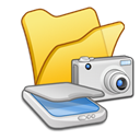 scanners, Folder, &, Cameras, yellow Icon