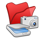 Folder, &, red, scanners, Cameras Black icon