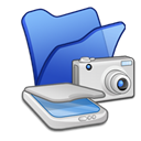 Folder, Cameras, scanners, &, Blue Black icon