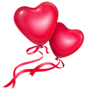smiles, love, Hearts, balloons, fairy, flowers Crimson icon