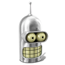 Futurama, Bender, robot Black icon