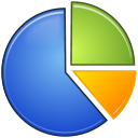Stats, graph, Analytics, chart, statistics, pie RoyalBlue icon