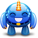 happy, Blue, monster Black icon