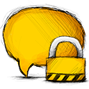 locked, Comment Gold icon